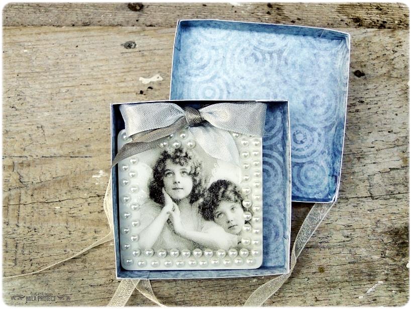 Magnesik w pudełku Aniołki w perłach 4