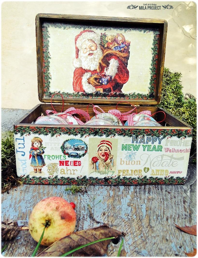 Bombki w drewnianym pudełku My Christmas 1