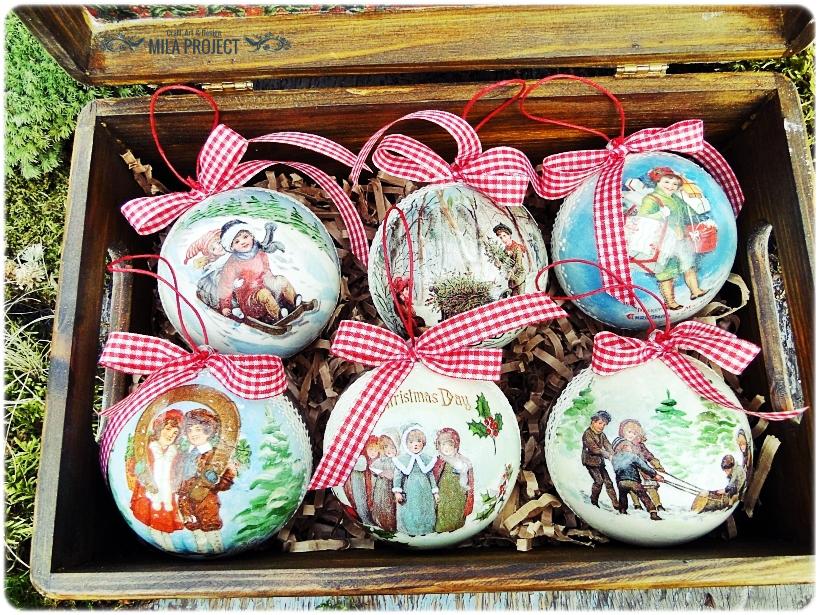 Bombki w drewnianym pudełku My Christmas 5