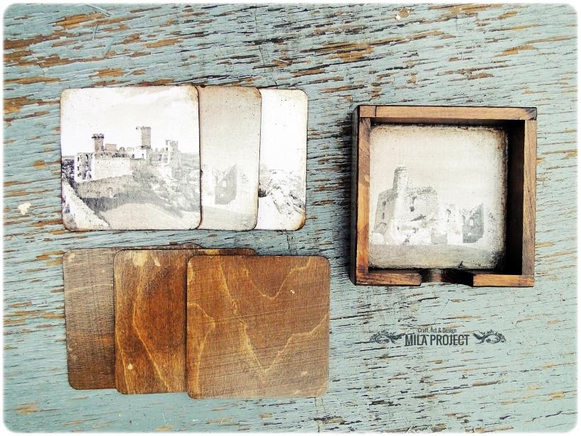 Podkładki pod kubki w pudełku Zamki 4