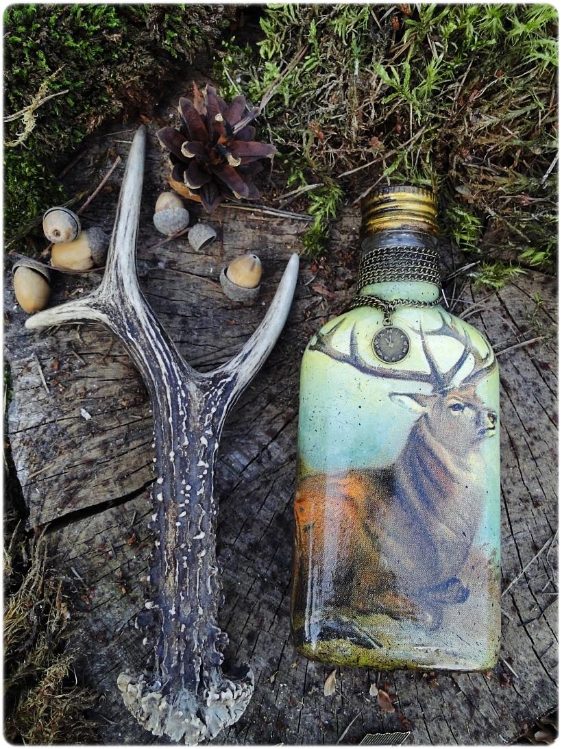 Butelka szklana, piersiówka Jeleń 1