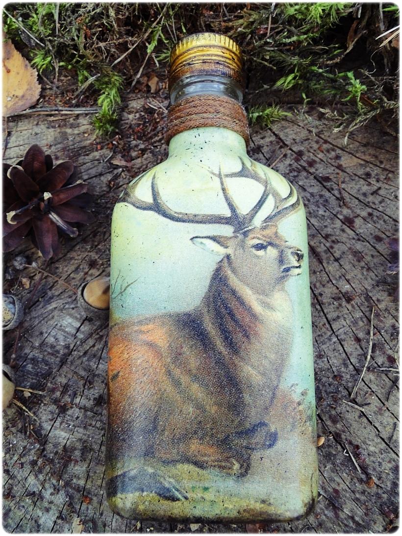 Butelka szklana, piersiówka Jeleń 4