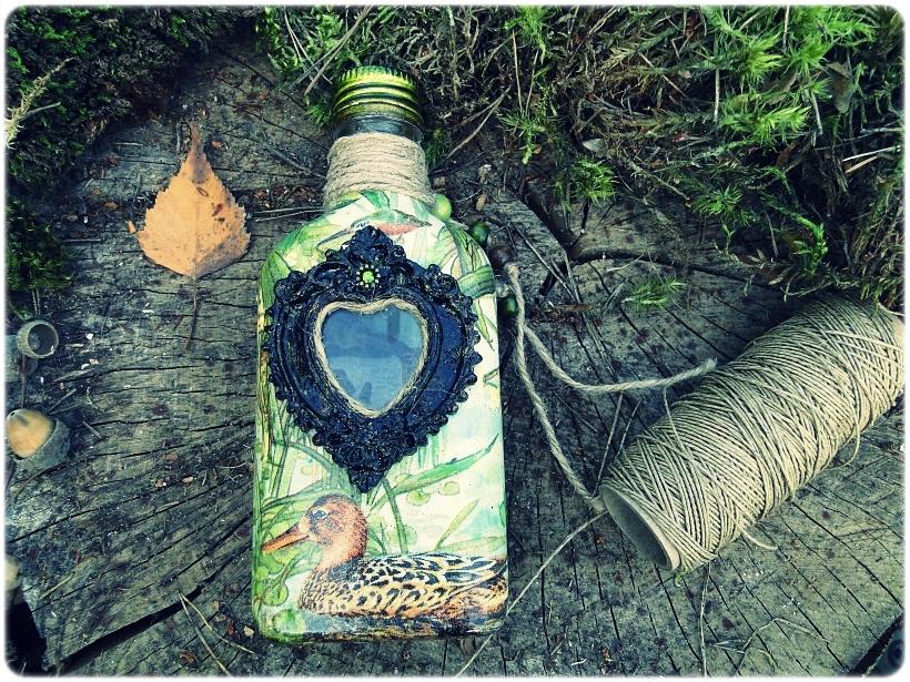 Butelka szklana, piersiówka Kaczki 1