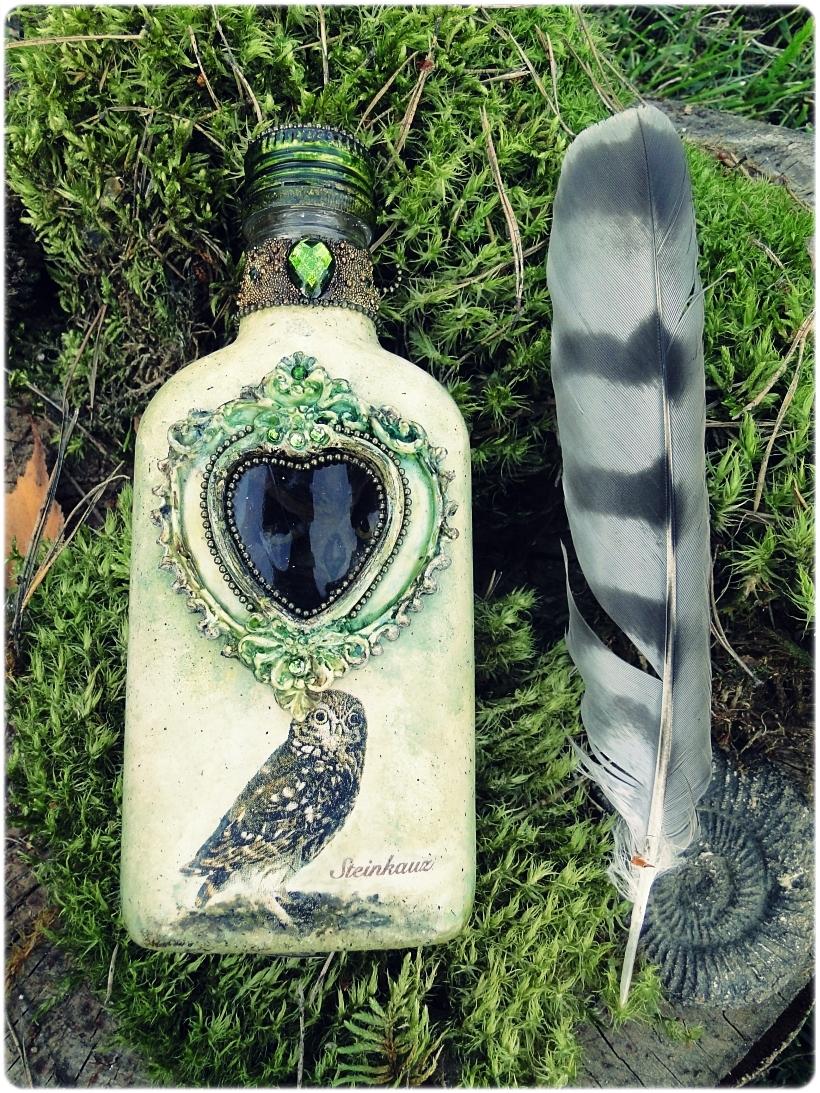 Butelka szklana piersiówka Sówki 1