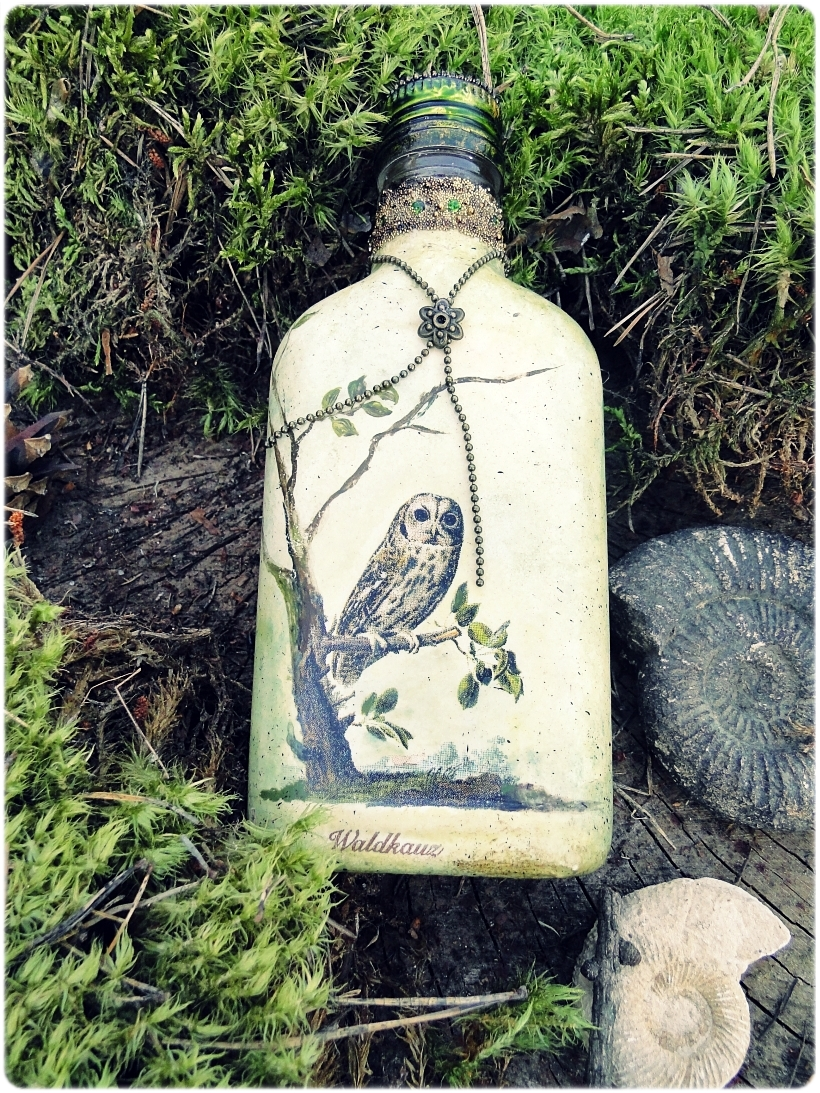 Butelka szklana piersiówka Sówki 4