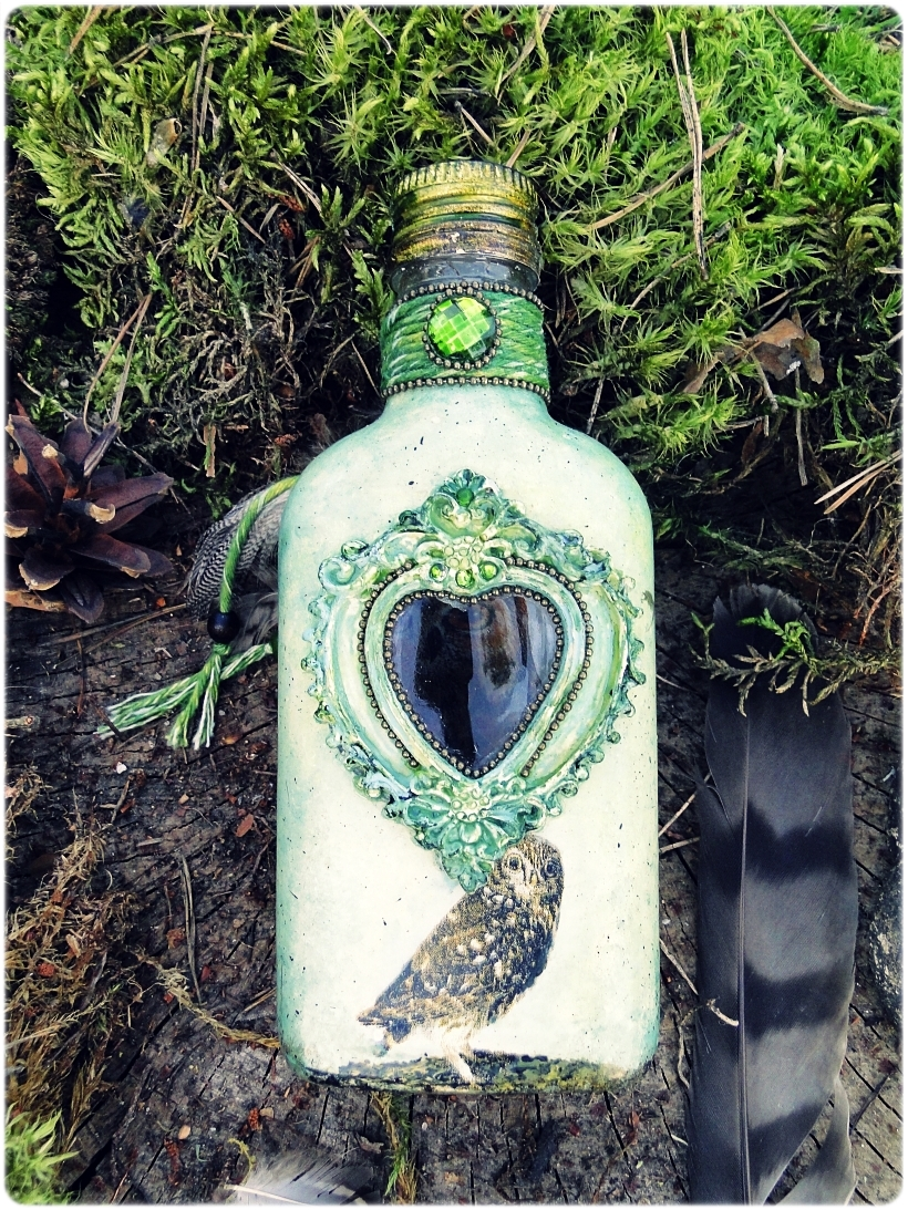 Butelka szklana piersiówka Sówki 6