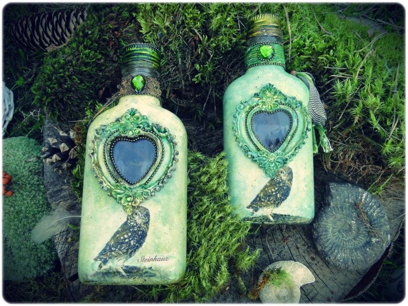 Butelka szklana piersiówka Sówki