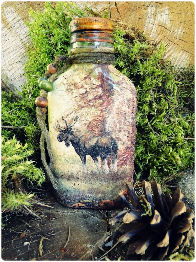 Butelka szklana, piersiówka Łoś 3