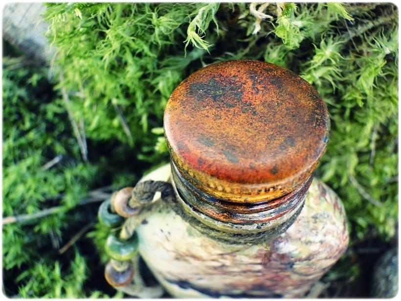 Butelka szklana, piersiówka Łoś 7