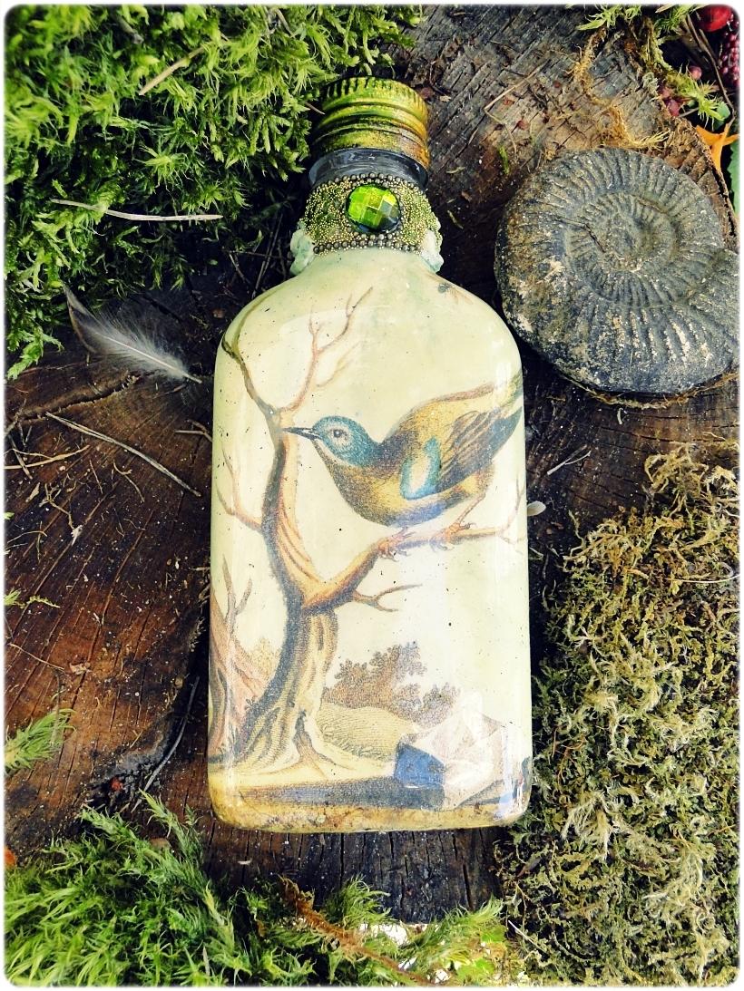 Butelka szklana piersiówka Muscicapa viridis 7