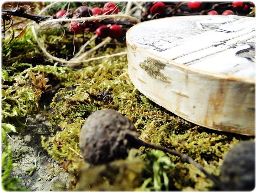 Rustykalne zawieszki w pudełku z łuby Zima 11