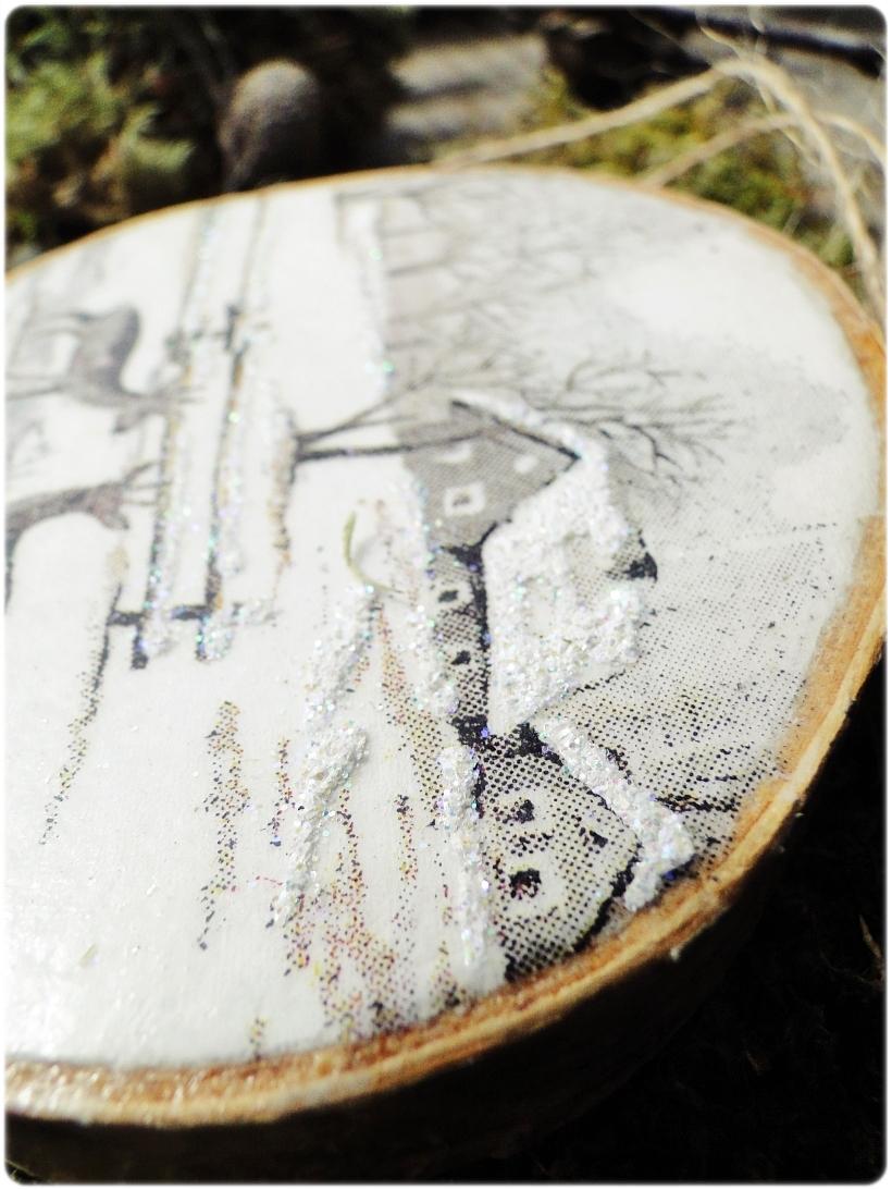 Rustykalne zawieszki w pudełku z łuby Zima 9