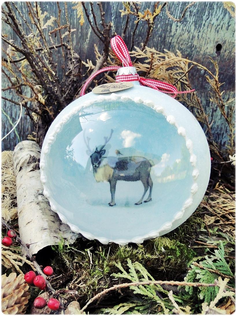 Szklana bombka z okienkiem Piesek, Osiołek i Renifer 3