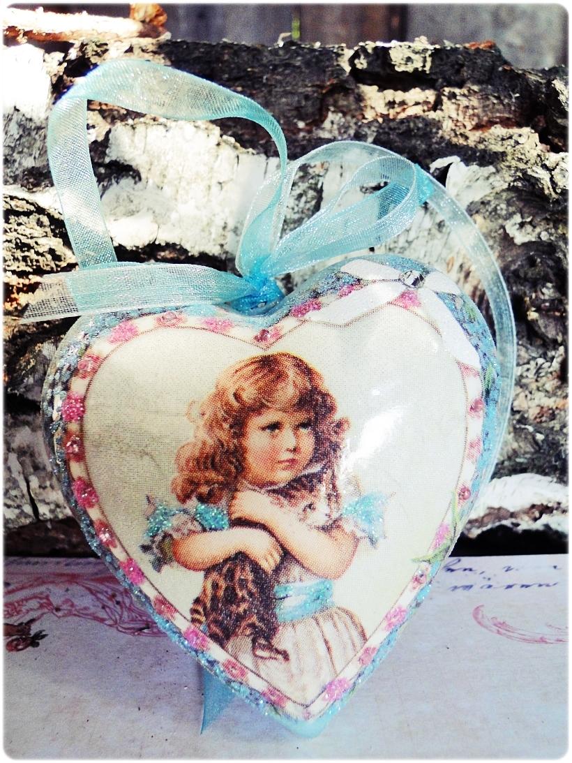 Bombka medalion Dziewczynka z Kotem 1