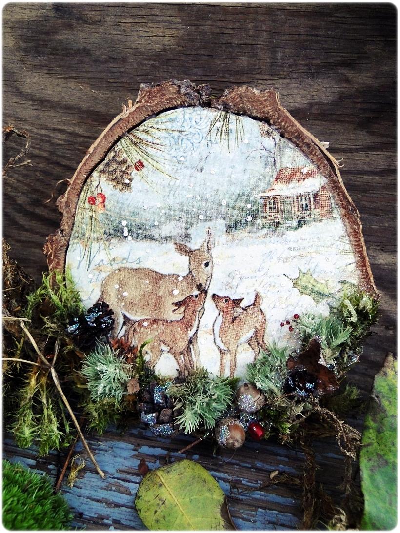 Dekoracja świąteczna na drewnie brzozowym Sarenki 1