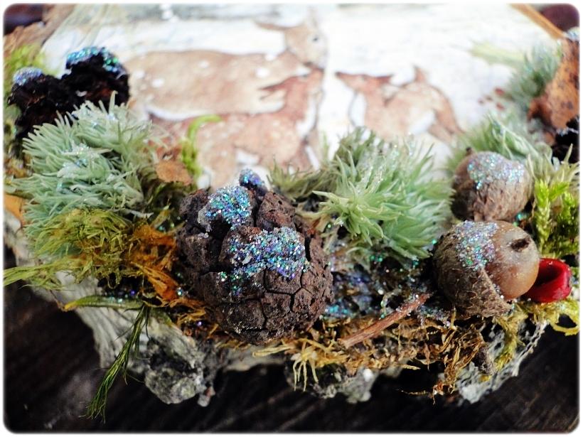 Dekoracja świąteczna na drewnie brzozowym Sarenki 2