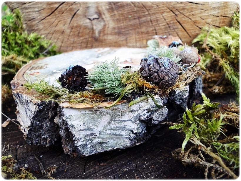 Dekoracja świąteczna na drewnie brzozowym Sarenki 3