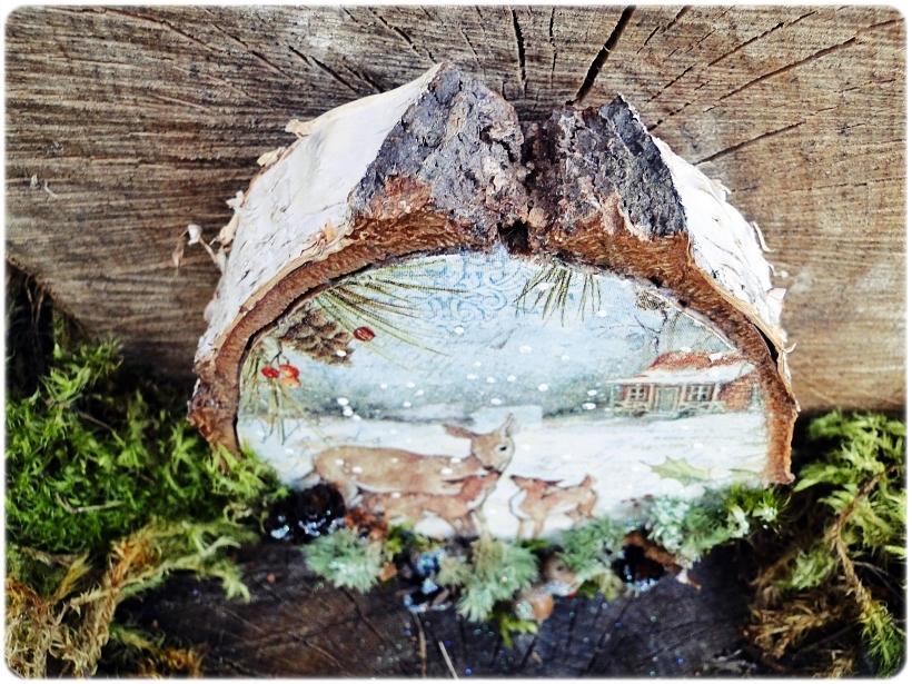 Dekoracja świąteczna na drewnie brzozowym Sarenki 4