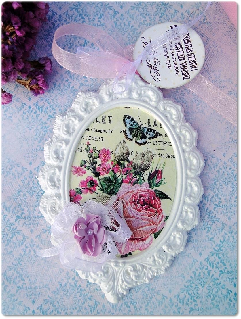 Gipsowa ramka z obrazkiem Flowers&Butterflies 1