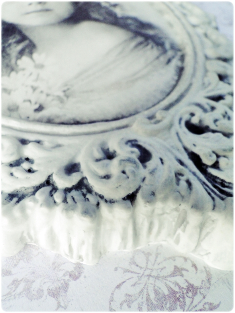 Gipsowa ramka z obrazkiem Vintage girl 2