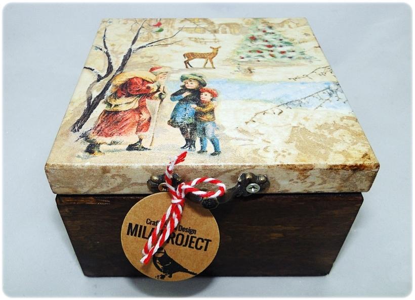 Bombka gwiazdka w drewnianym pudełku Spotkanie z Mikołajem 1