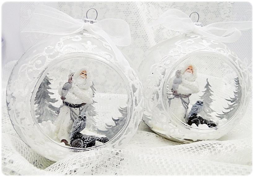 Bombka szklana z miniaturami Mikołaj i sowa 1