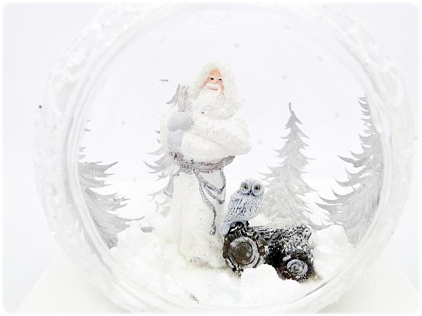 Bombka szklana z miniaturami Mikołaj i sowa 4
