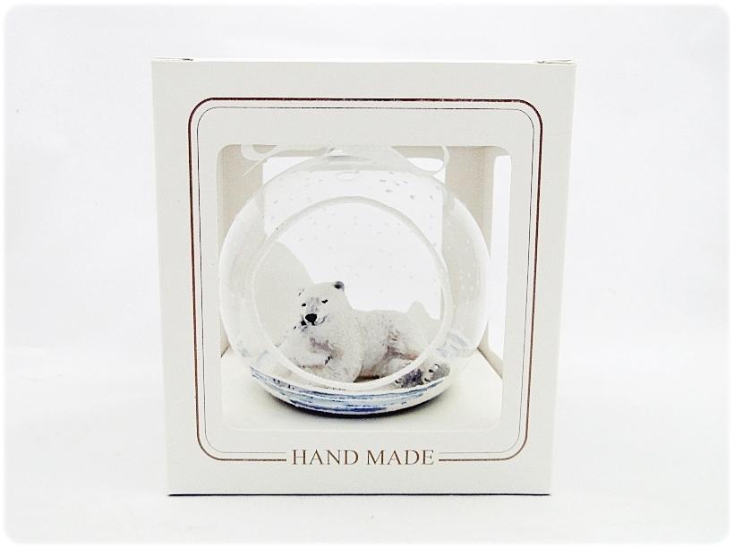 Bombka szklana z miniaturami Misie polarne 6