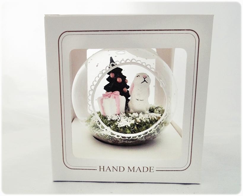 Bombka szklanan z miniaturami Zajączek z prezentem 6