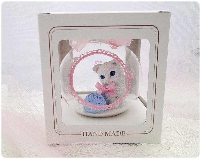 Bombka szklana z miniaturami Kocie łapki (różowa) 6