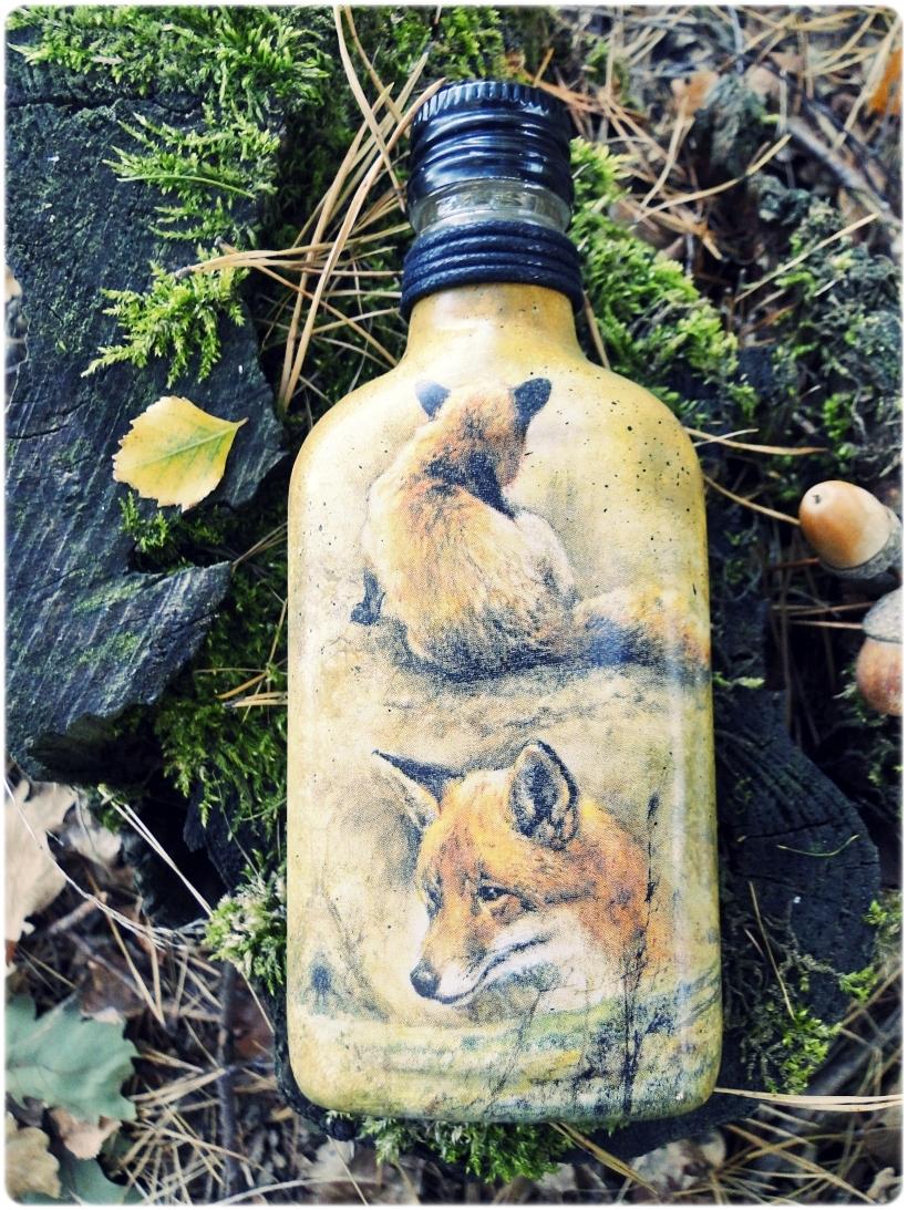 Butelka szklana piersiówka Lis 3
